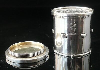 Silver Novelty Pepper/Pounce/Spice Pot of Drum Form, London 1861, George Fox