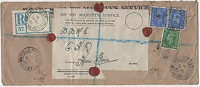 WWII FPO 1942 Great Britain On His Majesty's Service Registered