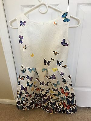 Girls Dress white Butterfly Print Party Birthday Casual Kids Clothes Size 12