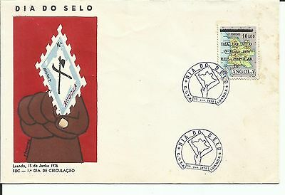 Angola 1976 - FDC Stamp Day - Map overprinted