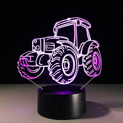 Tractor 3D Night Light 7 Color Change LED Acrylic Desk Table Light Lamp Toy Gift