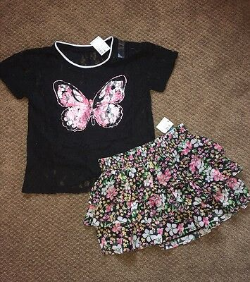 Justice Girls Outfit Butterfly Flower Tank Top Shirt Tee Skirt Size 8 New Nwt