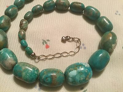 Stunning Jay King DTR. Sterling Silver Graduated Turquoise Necklace
