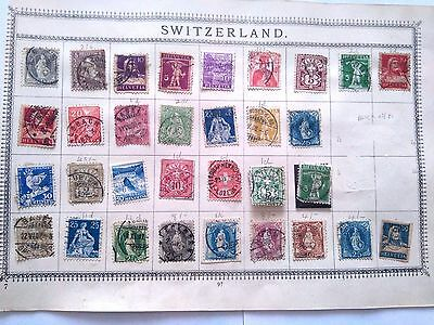 6 Page Collection Early / Mid Swiss Stamps Removed From Old Albums - Switzerland