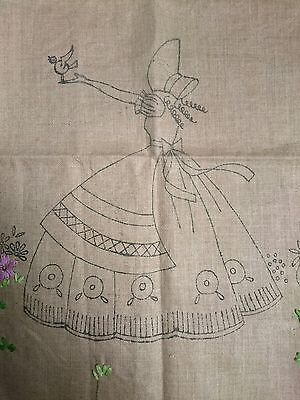 Vintage Crinoline Lady Irish Linen Cushion For Hand Embroidered Transfer