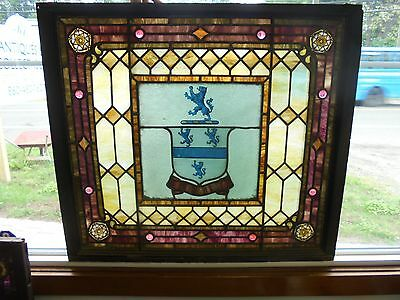 Antique  Coat of Arms Stained Glass Window