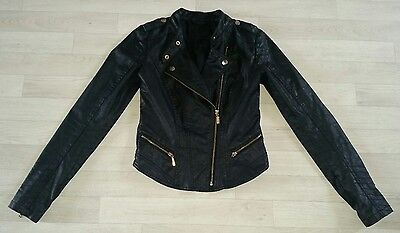PRIMARK size 8 faux LEATHER JACKET biker black fitted