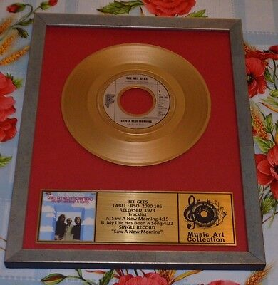 """BEE GEES  Presentation Discs  wood frame single 7"""" records collection AWARD"""