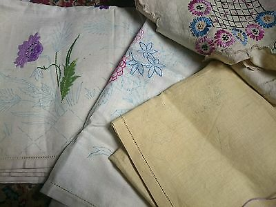 BUNDLE OF 4 VINTAGE LINEN TABLECLOTHS TO EMBROIDER TRANSFER hand embroidery