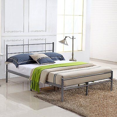 Modern Silver Double Bed 4FT6 Metal Bed Frame Adult Kid Teen's Bedroom Twins