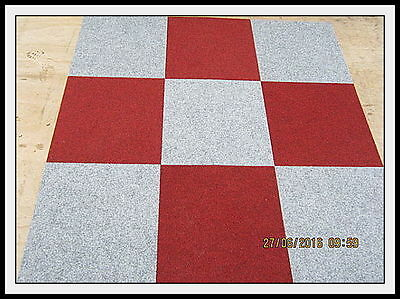 """Red and Silver """"Check Mate"""" Office Quality Carpet Tiles Only £25 per box of 20"""
