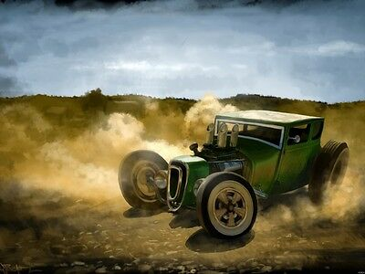 Hotrod Modern Art Watercolor Painting Wall Print POSTER AU