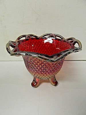 Imperial Lace Edge Diamond Point Iridescent Footed Candy Dish