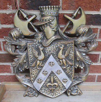 Vintage Rare Large Ornate Brass Metal Coat Of Arms Wall Plaque-Japan Knights MBC