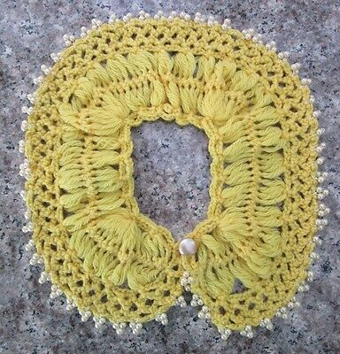 Vintage Yellow Crochet Dress or Sweater Collar with Beads - 1950's