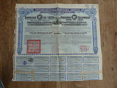 China, 8% Railway Equipment Loan of 1922