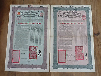China, Tientsin-Pukow-Railway, 20 Pounds Bonds 1908 & 1910