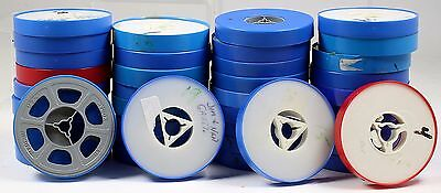 8MM REEL LOT OF 37  3 INCH REELS MOST WITH COVERS VINTAGE FILM 8 mm