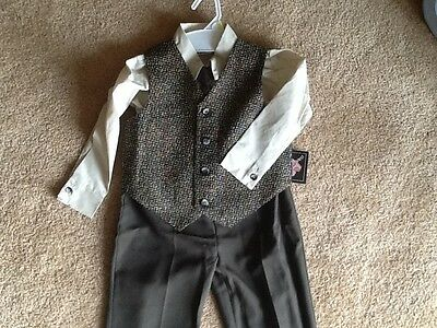 New Nwt Desgnr Boys 4T 4 Suit Dress Shirt Vest Tie Pants Wedding Ring Boy Outfit