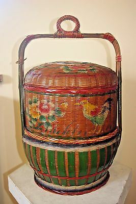 Antique Chinese Wicker Marriage Basket, 2 Tier & Lid. Red Cockerel Oriental 46Cm