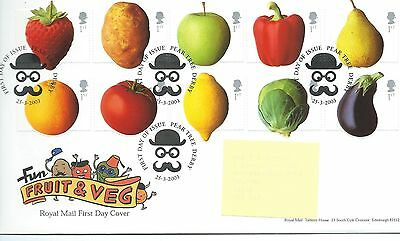 wbc. - GB - FIRST DAY COVER - FDC - COMMEMS -2003- FRUIT & VEG - Pmk Pear Tree
