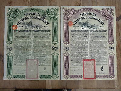 China, The Imperial Chinese Government, Gold Loan of 1908 20 Pounds & 100 Pounds