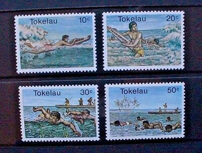 TOKELAU 1980 Water Sports: Swimming Surfing. Set of 4. Mint Never Hinged. SG73/6