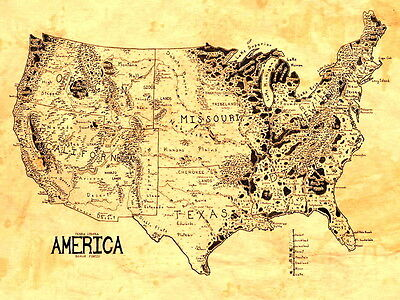 USA Wild West Indian Lands Educational Wall Print POSTER UK