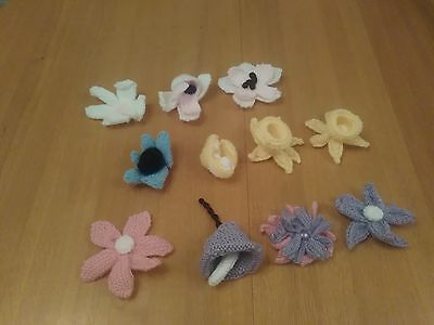 Knitted Flower Brooches/Motifs Job Lot of 11 BNWOT