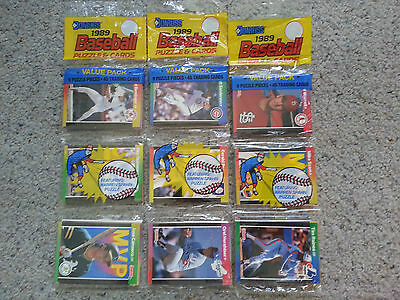 ^ 1989 Donruss Leaf Major League Baseball Rack pack 45 trading cards Puzzle MLB