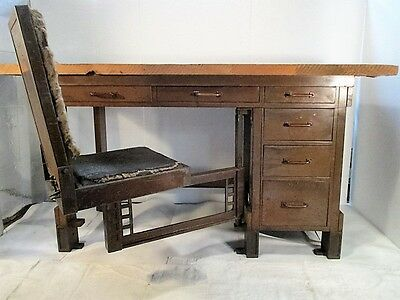 Frank Lloyd Wright Designed Chair Desk Larkin Building Buffalo NY Van Dorn Iron