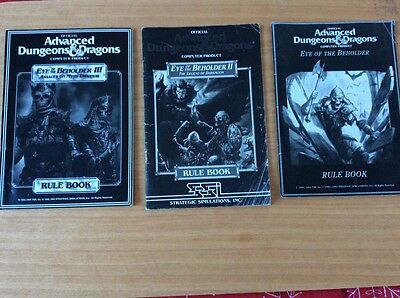 3 Rule Books for TSR Advanced Dungeons & Dragons Eye of the Beholder