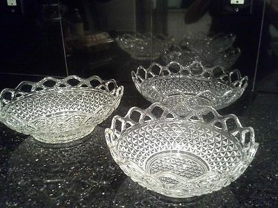 SET OF 3 NESTING BOWLS - Vintage Imperial Katy Clear Glass, Lace Edge