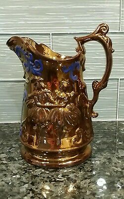 1840's Copper Lustre Milk Pitcher Wade Painted Scrolls - Dancers