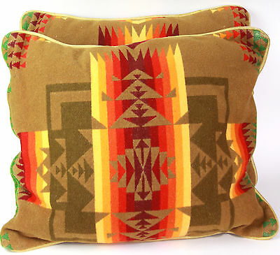 "Set of Two 21"" x18"" VTG Pillows Pendleton Wool Blanket Chief Joseph Pattern"