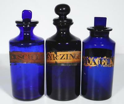 19c. Three English Cobalt Blue Apothecary Pharmacy Syrup Bottles