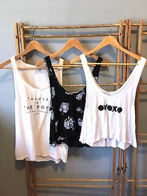 LOT of 3 Aritzia TALULA Jersey CROP TOPS - Floral, OVOXO, Graphic Tanks, Size S