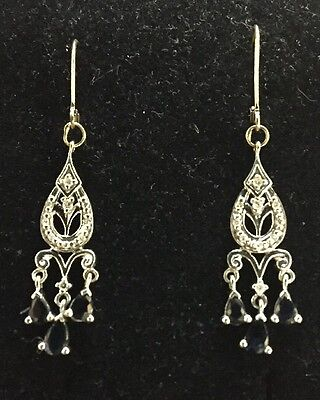 Sapphire And Diamond Chandelier Style Earrings In 14K White Gold