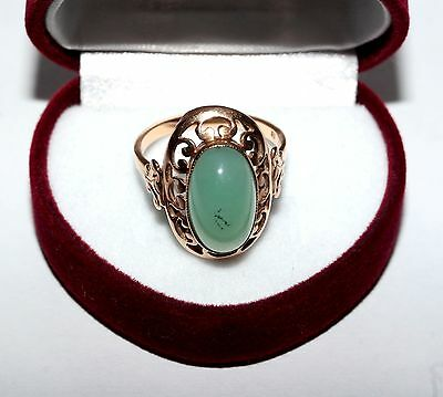 Adorable Last Century Awesome Natural JADE GOLD 14K ring Stamp 583 USSR Antique