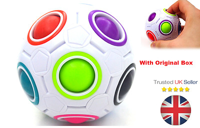 4× Rainbow and White Spherical Balls Shaped Magic Cube Speed Puzzle Toy UK