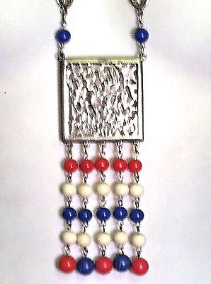 vintage patriotic jewelry Red/Wht/Blue Bohiemien Beaded Statement Necklace Long