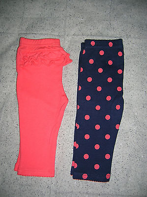 ❤ADORABLY CUTE❤2 PAIRS OF NEW PANTS❤0-3 MONTHS❤BABY GIRL❤️BLUE w/DOTS & ORANGE