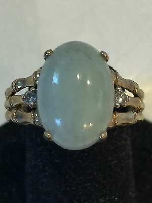 Vintage 10K Yellow Gold Jade & Diamond Ring With Bamboo Motif  Size 7