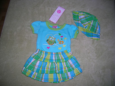 Nwt❤️3 Pieces❤️adorably Cute!❤️baby Girl Skirt-Top-Hat❤️0-3 M❤️green & Blue❤️owl