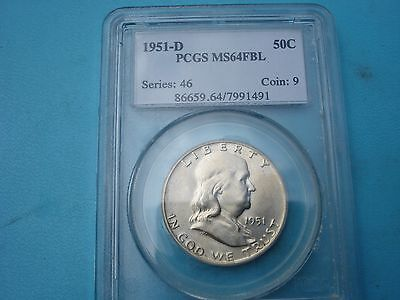 1951- D Franklin PCGS MS 64 Full Bell Lines