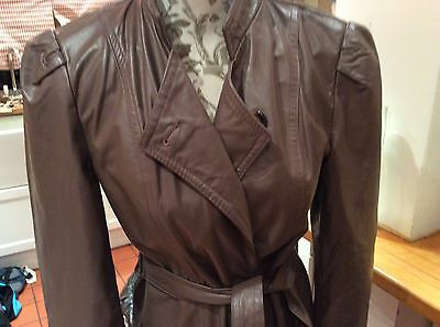 VINTAGE RETRO BOHO 70s 80s Brown LEATHER COAT Size 12