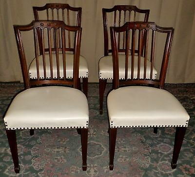 SOLID MAHOGANY DINING CHAIRS Picket Back Nailhead Seats VINTAGE Set of 4