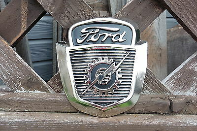 FORD Vintage Gear Lightning Logo Emblem Chrome Metal Fordomatic Shop WALL Sign
