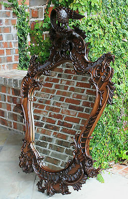 Antique French Walnut Rococo Open Carved Framed Wall Mirror Bird Crown LARGE