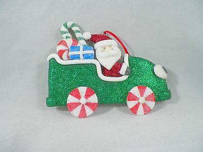 Santa Driving Candy Car with Presents Christmas Tree Ornament new holiday